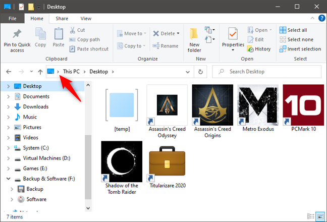 The first caret button from File Explorer's address bar