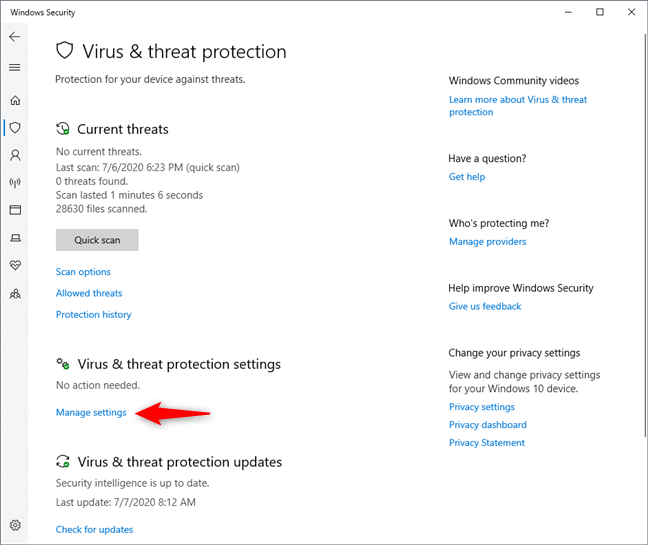Manage settings under Virus & threat protection settings