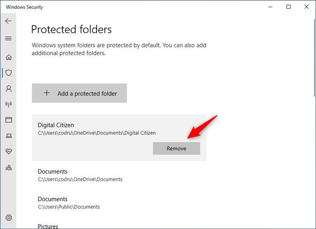 Removing a folder from the ransomware protection list