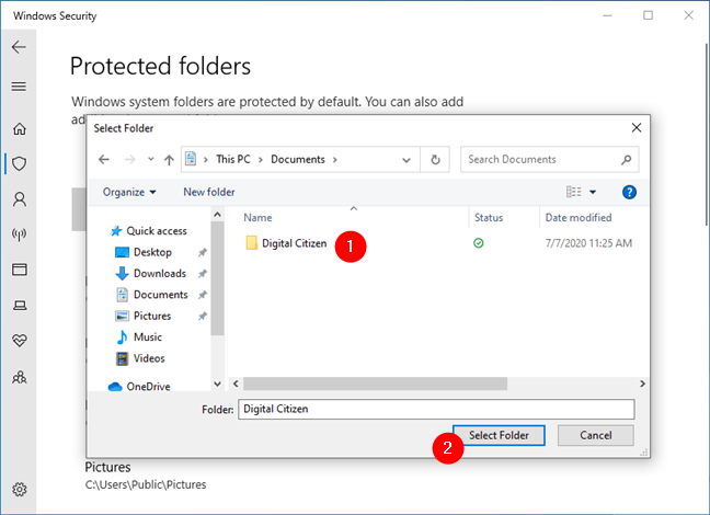 Choosing the folder that gets ransomware protection in Windows 10
