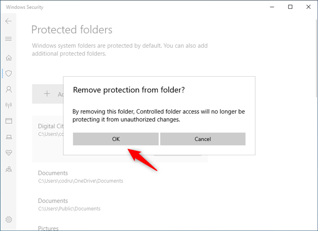 Confirming the removal of a folder from the ransomware protection list