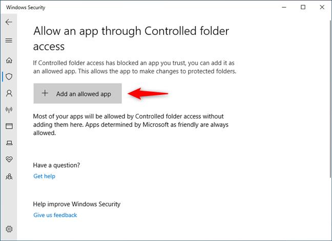 Whitelist an app in Controlled folder access