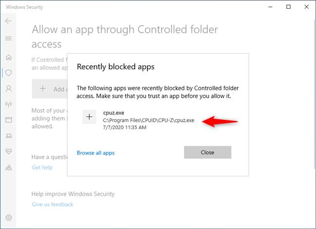 Whitelist an app in Windows 10's Controlled folder access