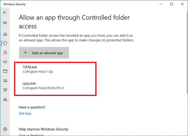 Apps that are whitelisted in Controlled folder access