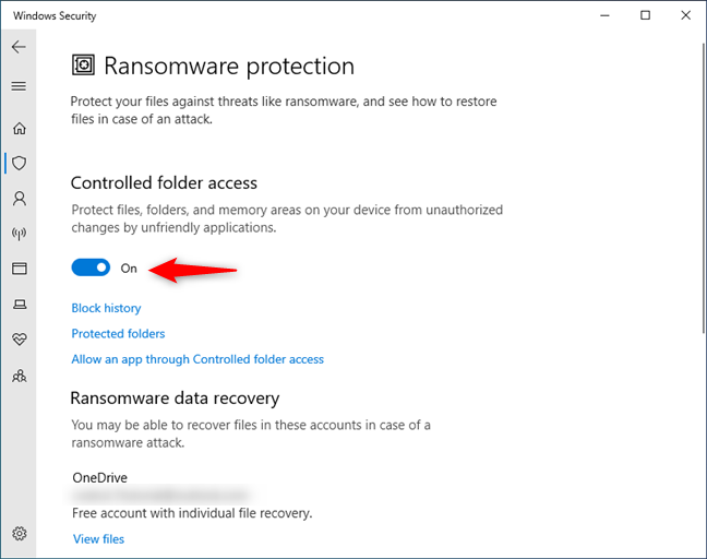 Turning on the Controlled folder access in Windows 10