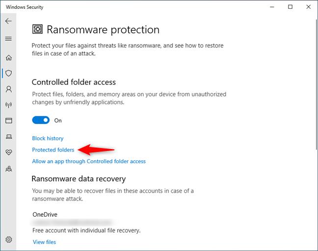 Windows 10 Protected folders