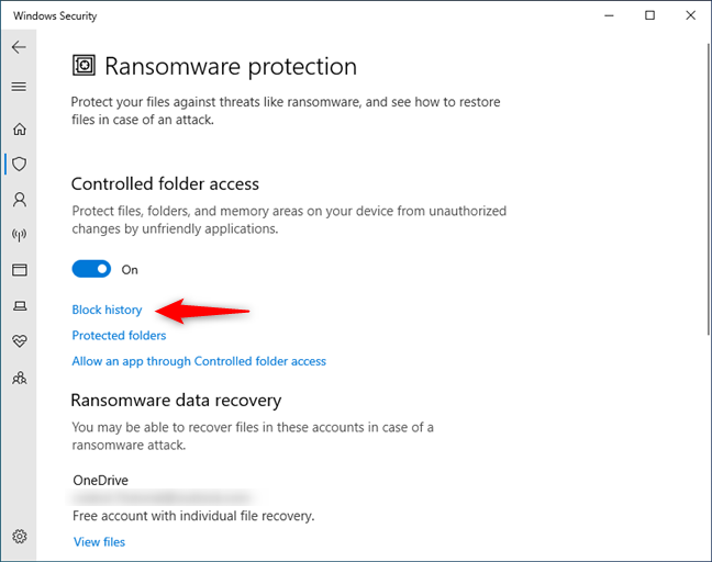 Windows 10 Ransomware protection: Check the Block history