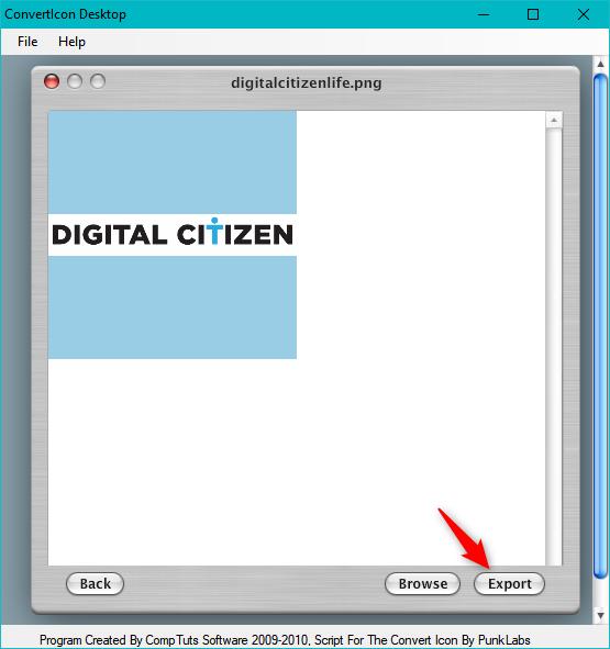 ConvertIcon Desktop - Exporting the image as an icon
