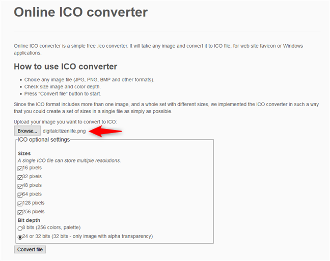 Uploading an image file to the ICO converter website