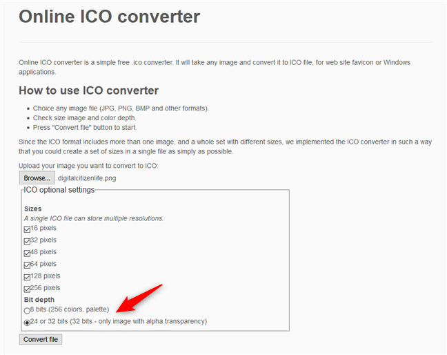 Online ICO converter - Selecting the bit depth of the ICO file