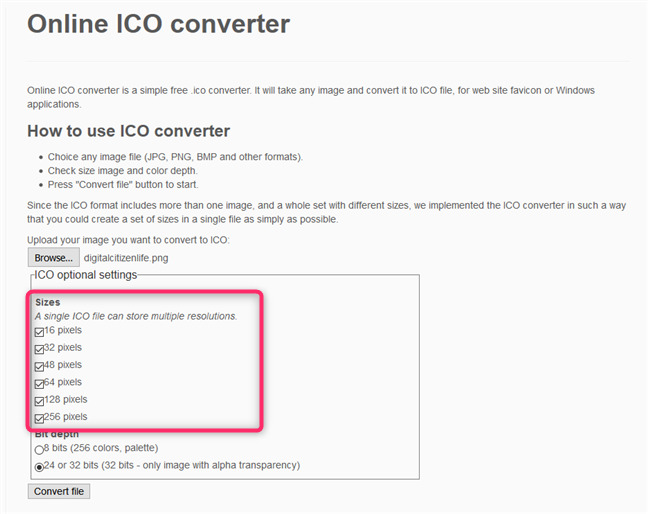 Online ICO converter - Choosing the resolutions used for the ICO file
