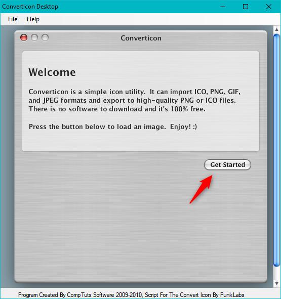 Starting the ConvertIcon Desktop app
