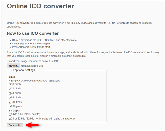 Online ICO converter - Converting the image to an icon