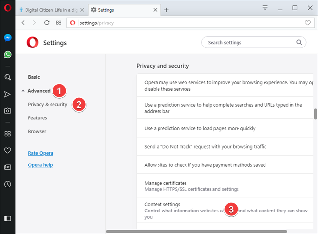 Open Content settings in Opera