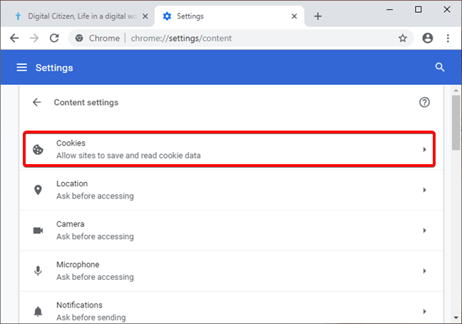 Open Cookie settings in Google Chrome