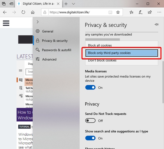 Block third-party cookies in Microsoft Edge