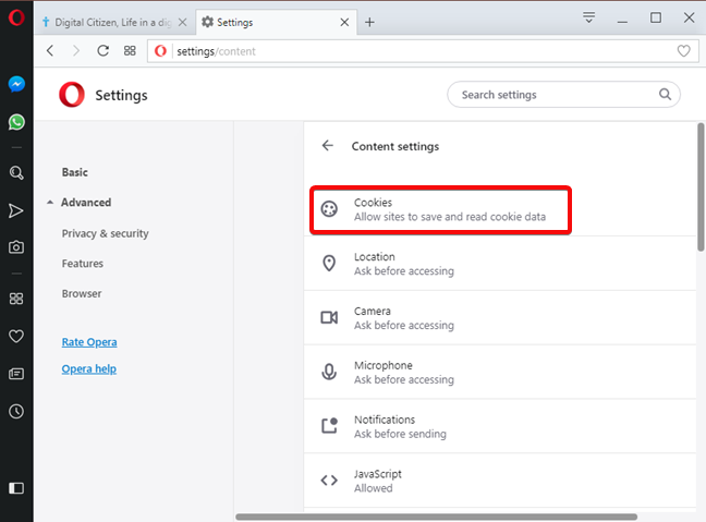 Open Cookie settings in Opera