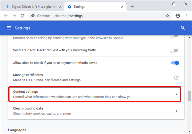 Open Content settings in Google Chrome