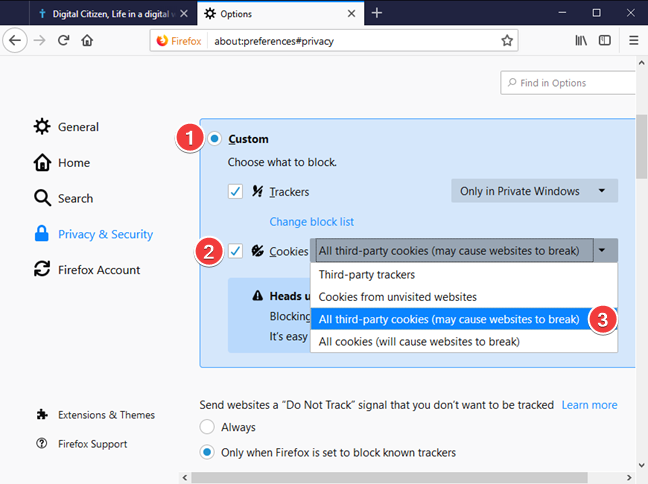 Block third-party cookies in Mozilla Firefox