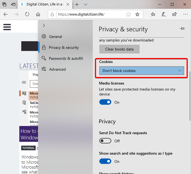 Cookie settings in Microsoft Edge