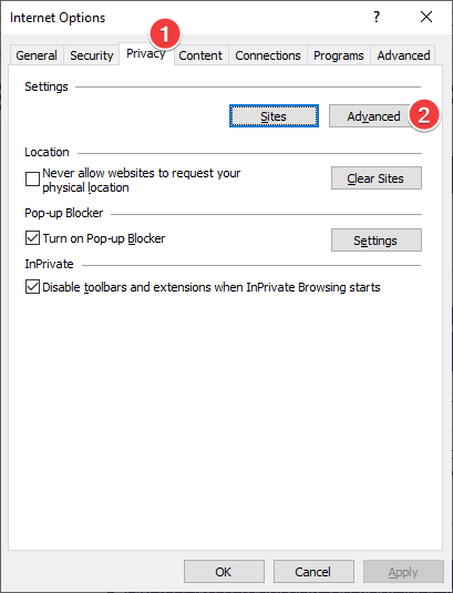 Open Advanced privacy settings in Internet Explorer