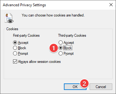 Block third-party cookies in Internet Explorer