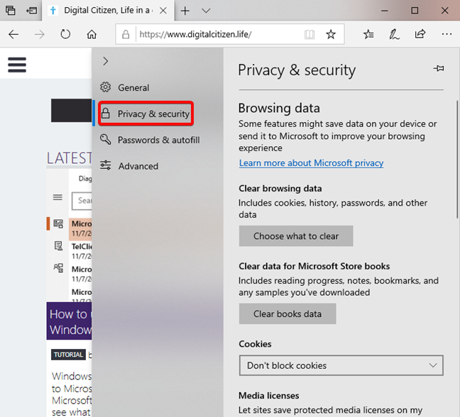 Open Privacy & Security settings in Microsoft Edge