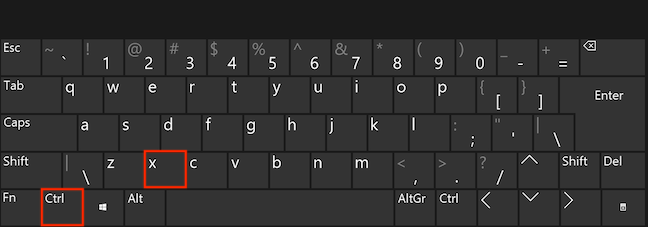 Simultaneously press the Ctrl and X keys to cut