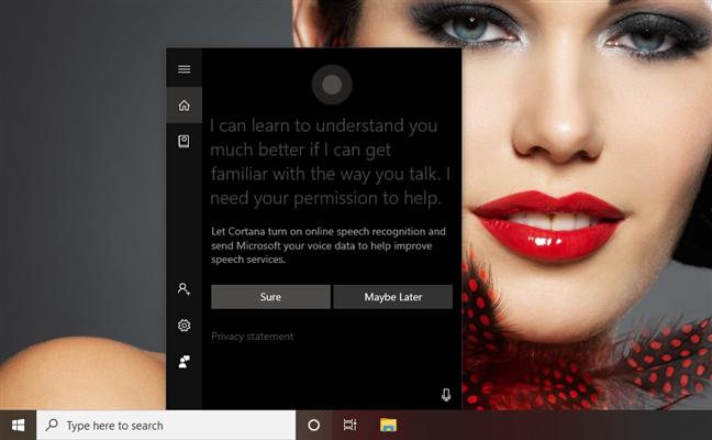Cortana using English on a Windows 10 PC