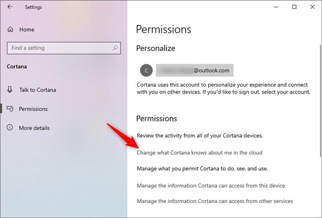 Cambia lo que Cortana sabe sobre mí en la nube