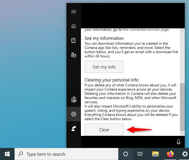 Elegir borrar su información personal de la nube de Cortana