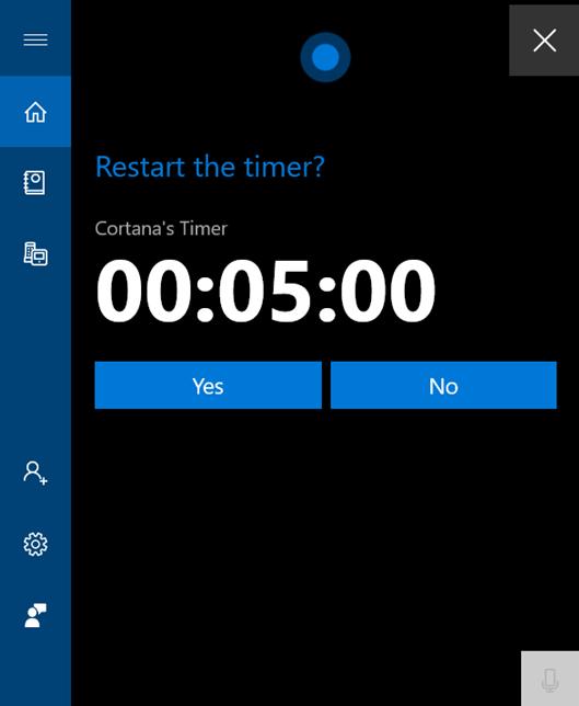 Restart Cortana's Timer