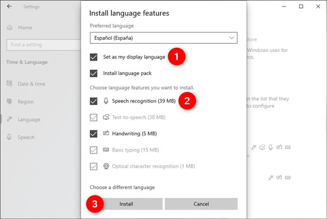 Choosing the features to install for the new language