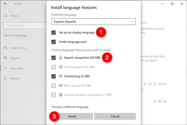 Elegir las funciones que se instalarán para el nuevo idioma