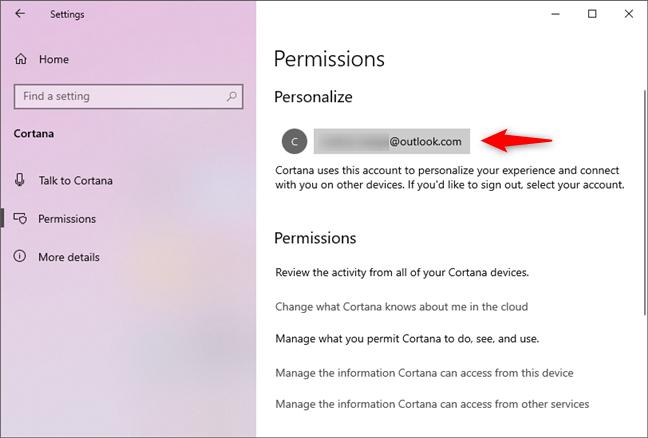 La cuenta de Microsoft utilizada para iniciar sesión en Cortana