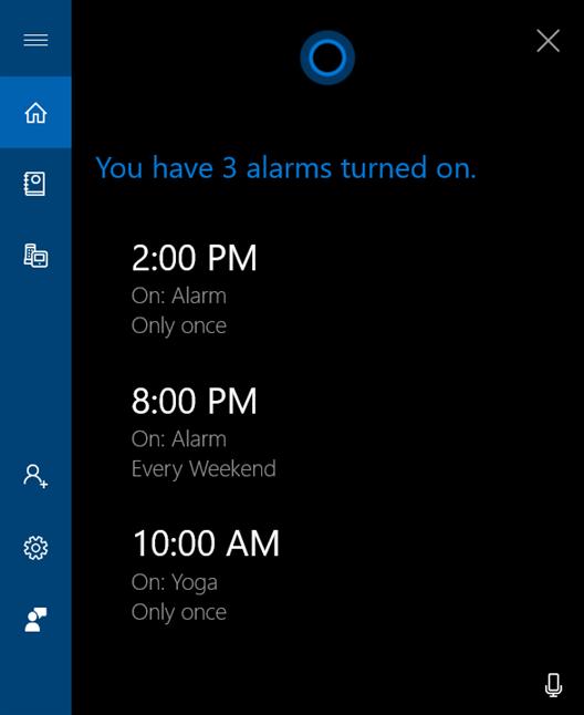 Cortana shows active alarms