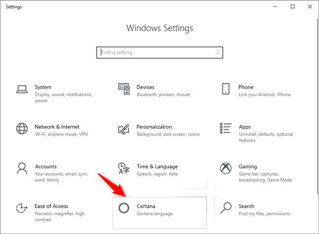 La categoría de configuración de Cortana