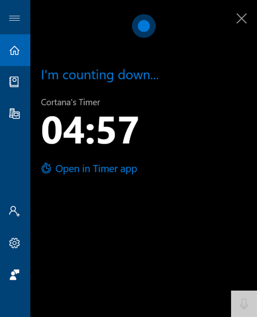 Cortana lets you know the timer is set