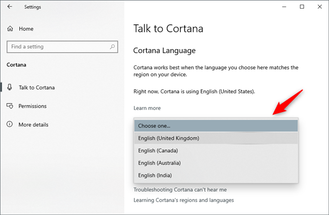 Choosing another language for Cortana