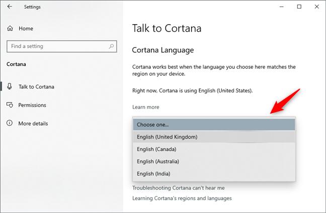 Elegir otro idioma para Cortana