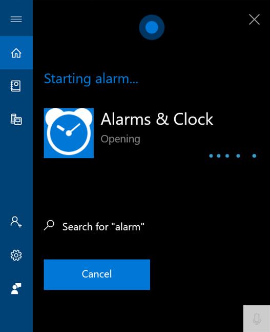 Say alarm to open Alarms & Clock