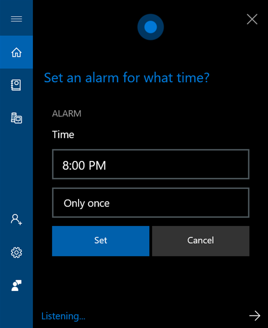 Tell Cortana the time for your alarm