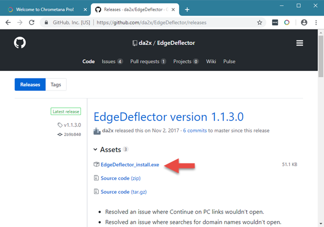 The download link for Edge Deflector, on GitHub