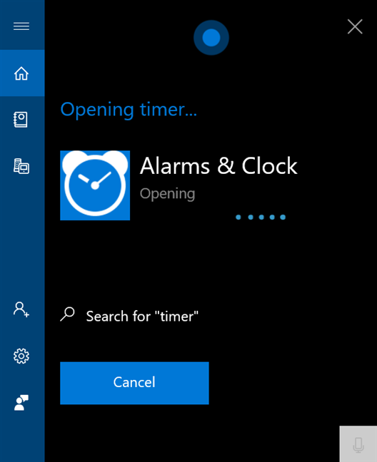 Say timer to open Alarms & Clock