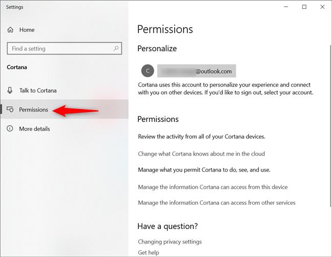La página de permisos de la configuración de Cortana en Windows 10