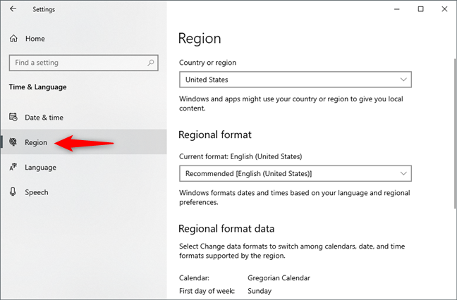 La página Región de la configuración de Windows 10