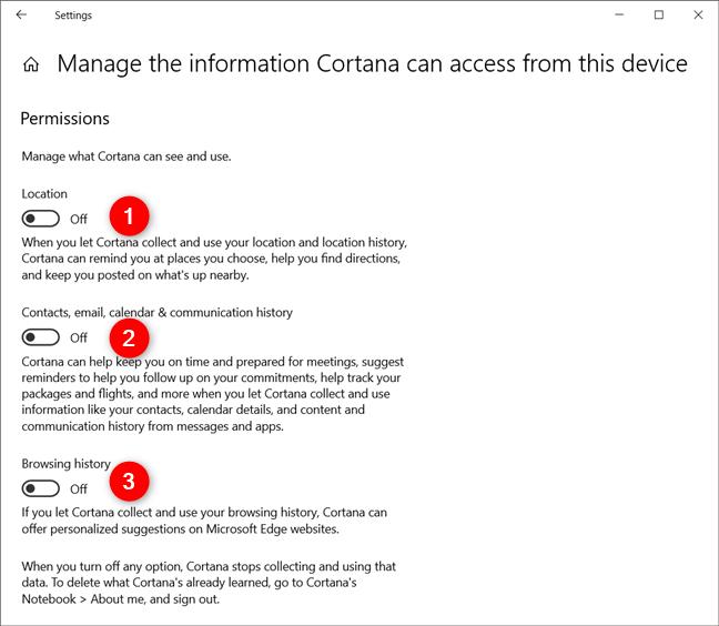Deshabilite todos los interruptores de la página de permisos de Cortana en la configuración de Windows 10