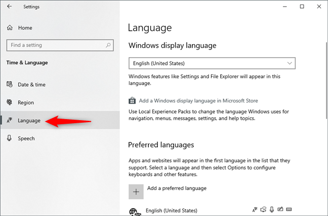 The Language page from Windows 10 Settings