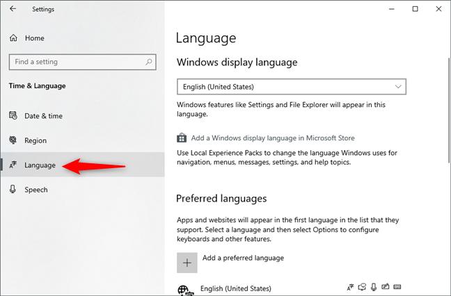 La página de idioma de la configuración de Windows 10