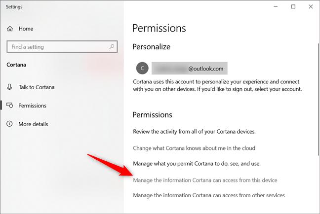 Administre la información a la que Cortana puede acceder desde este dispositivo